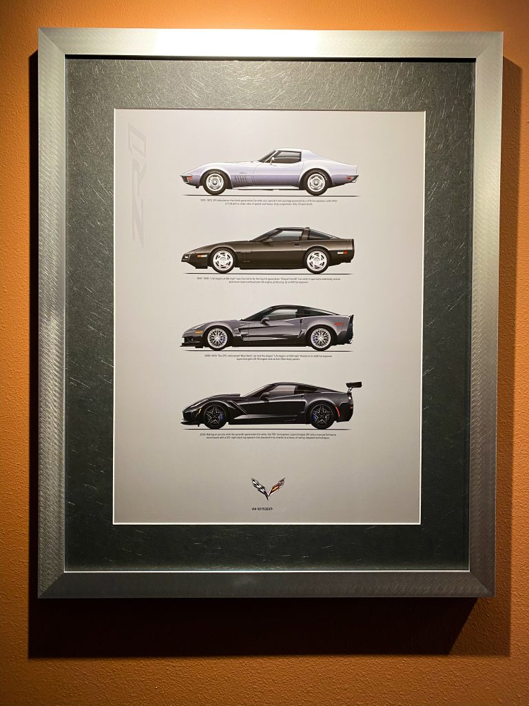 A print depicting all four ZR1 Corvette models produced by Chevrolet and provided to buyers of a new ZR1